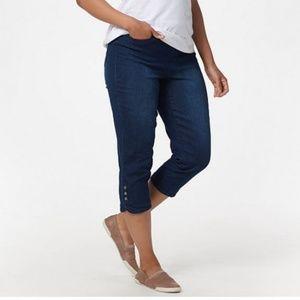 Denim & Co. Pull-On Capri Jeans w/ Snap Tulip Hem